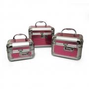 kit 3 Maleta De Maquiagem Profissional Maquiador rosa - 301