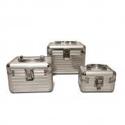 kit 3 Maletas Profissional para Maquiador  Prata - 309