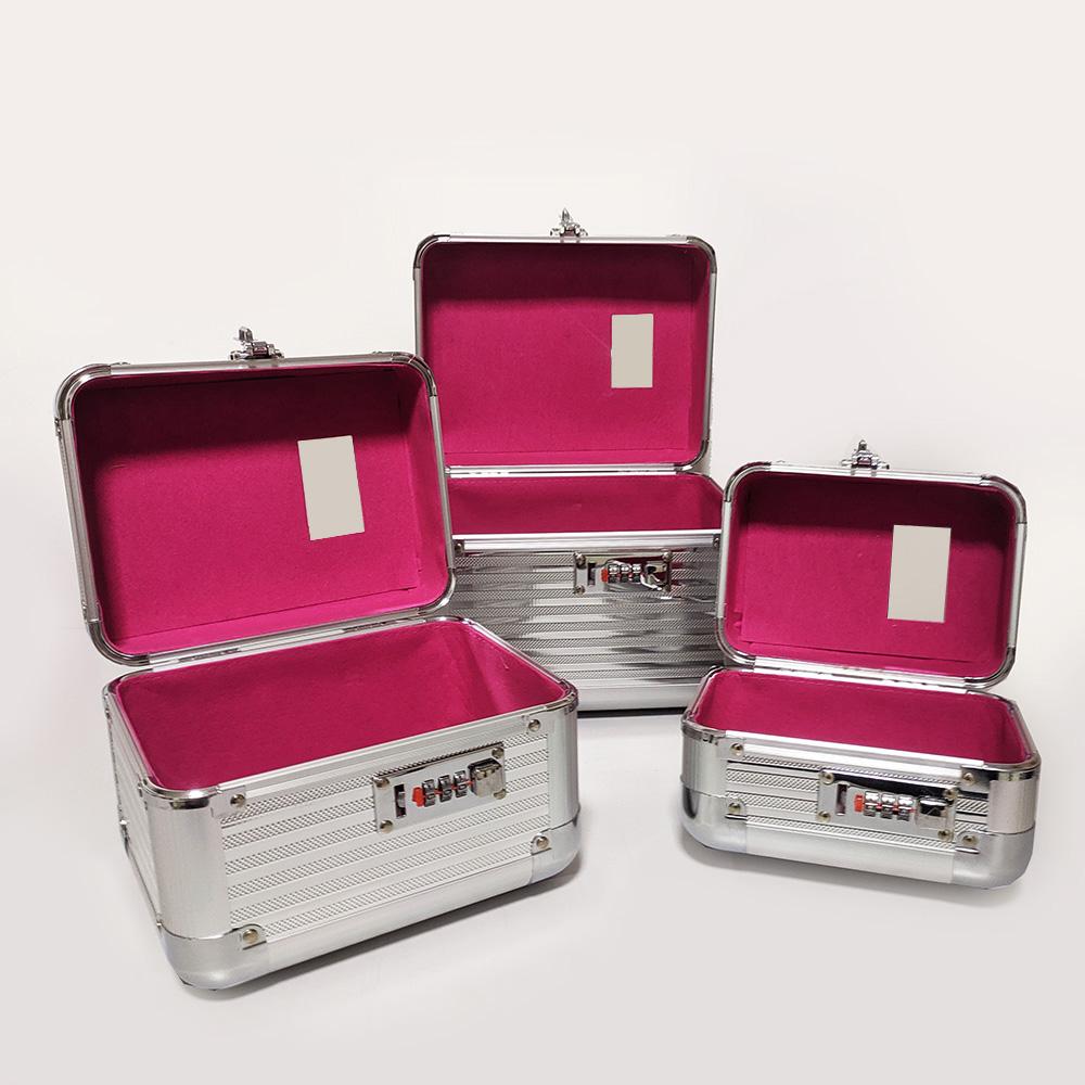 kit 3 Maleta De Maquiagem Profissional Maquiador prata - 301