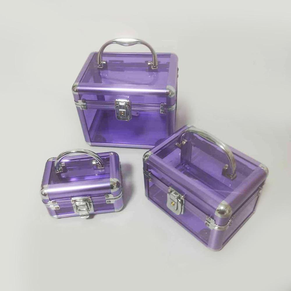 Kit 3 Maletas de Maquiagem Vazia Transparente com chave