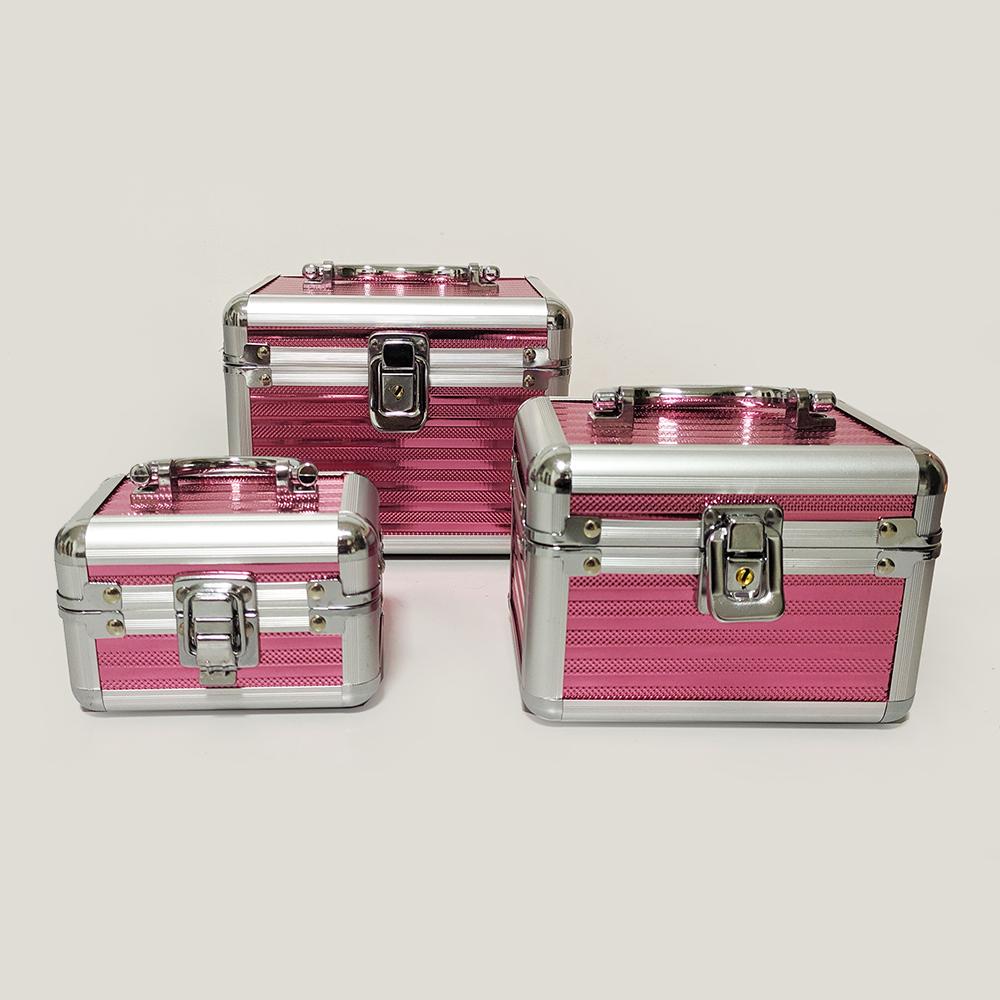 kit 3 Maletas Profissional para Maquiador  Rosa - 309