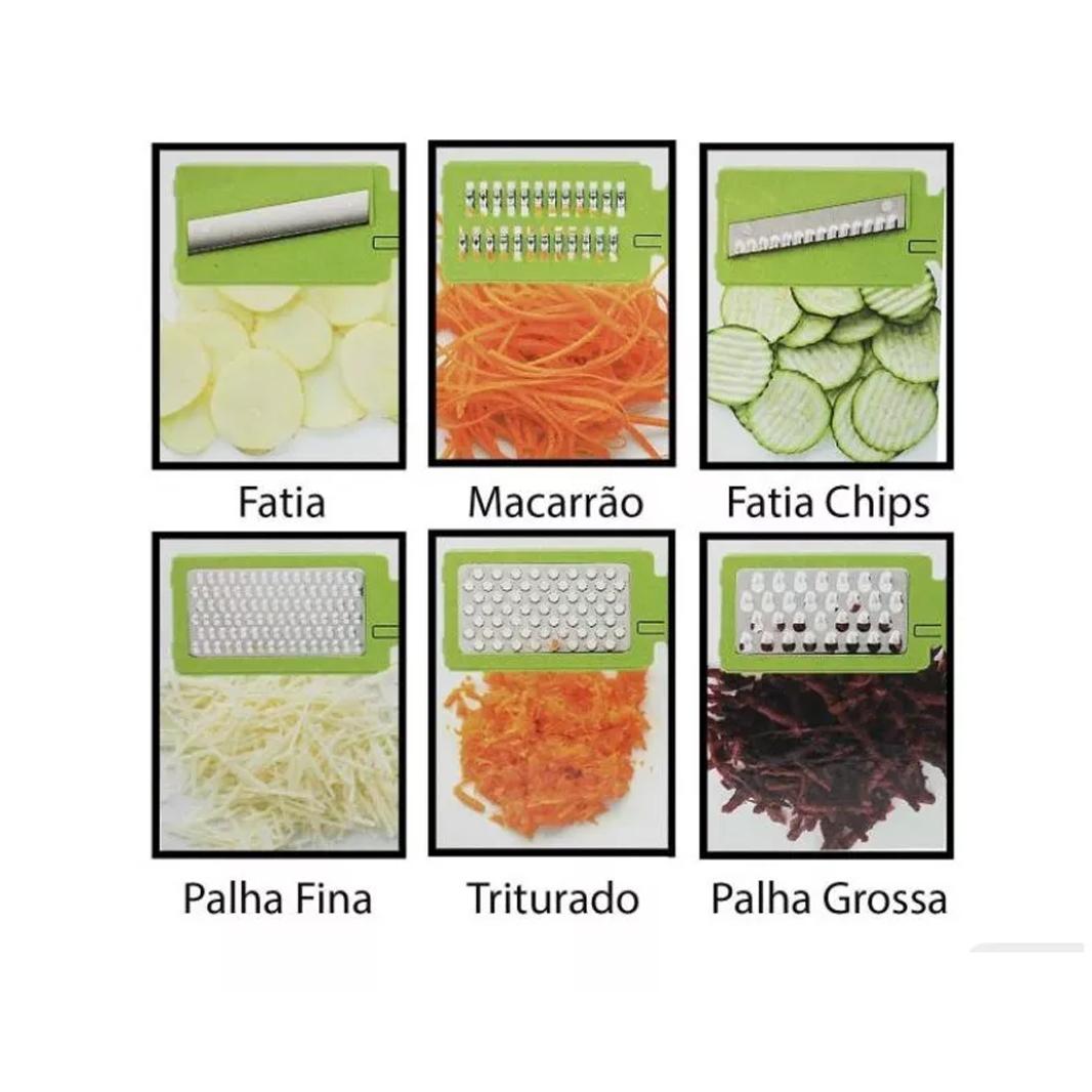 Ralador Fatiador Cortador Mandoline Kit 6 X 1 Inox Alimentos b837