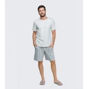 pijama manga curta rot listras
