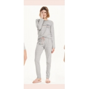pijama manga longa fio tinto mescla