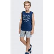 pijama regata infantil marinho navy rot peixinhos