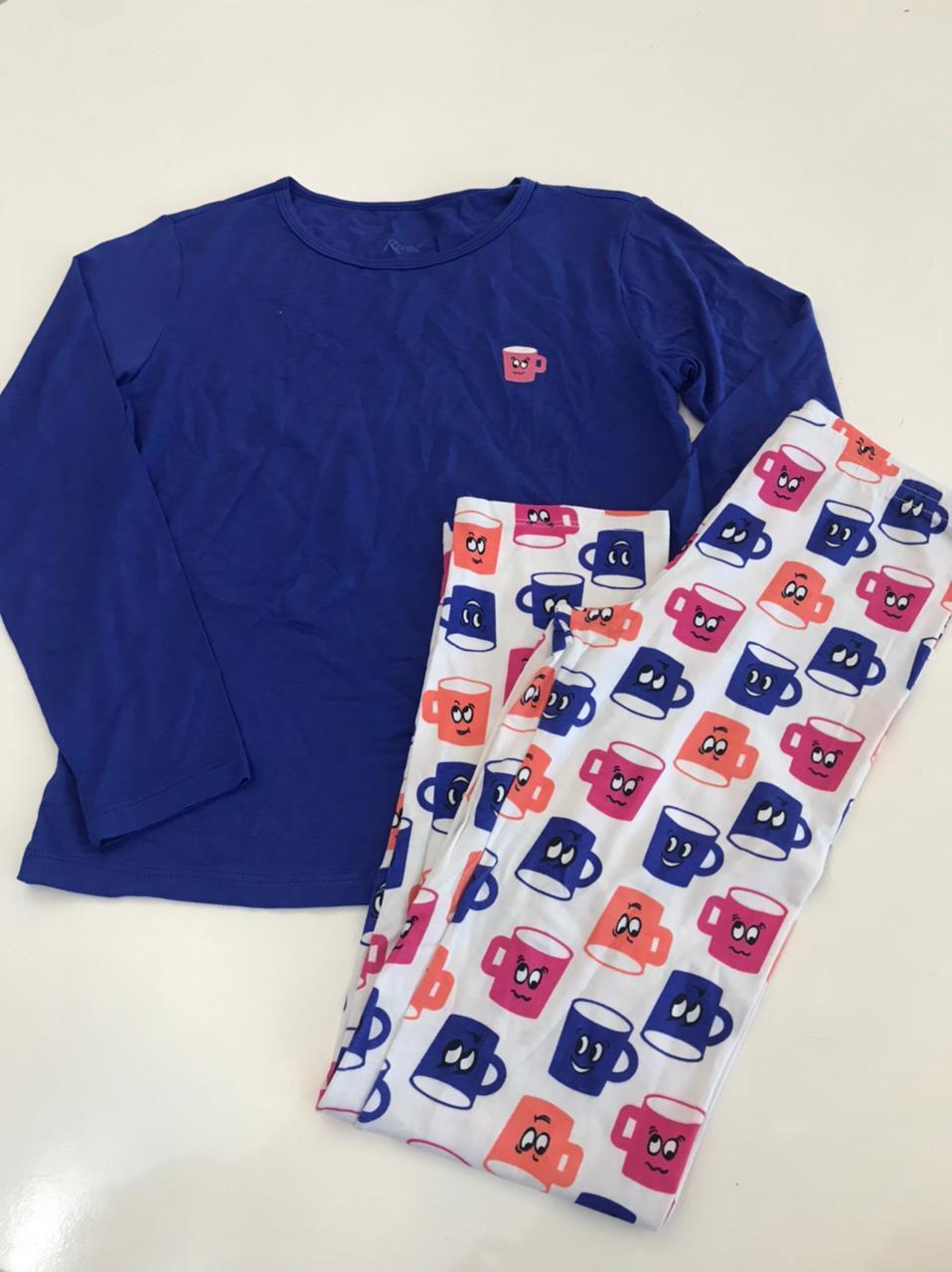 pijama infantil comprido c/ legg canecas