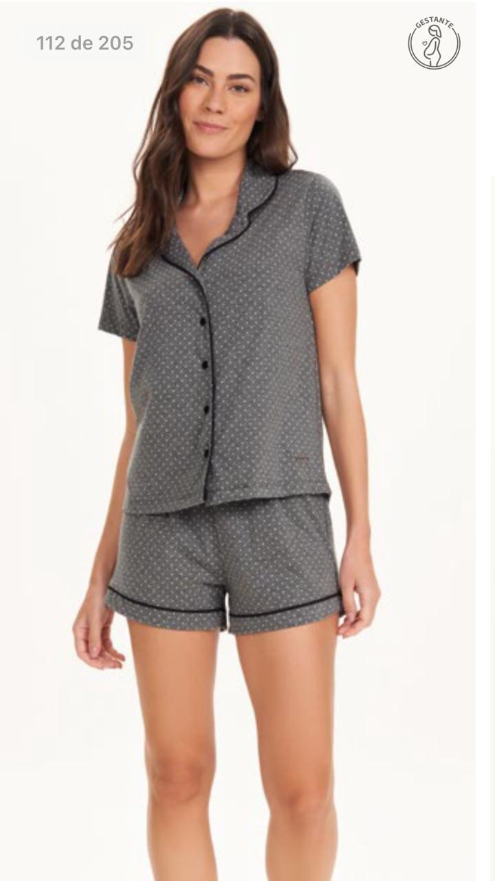 pijama manga curta com abertura