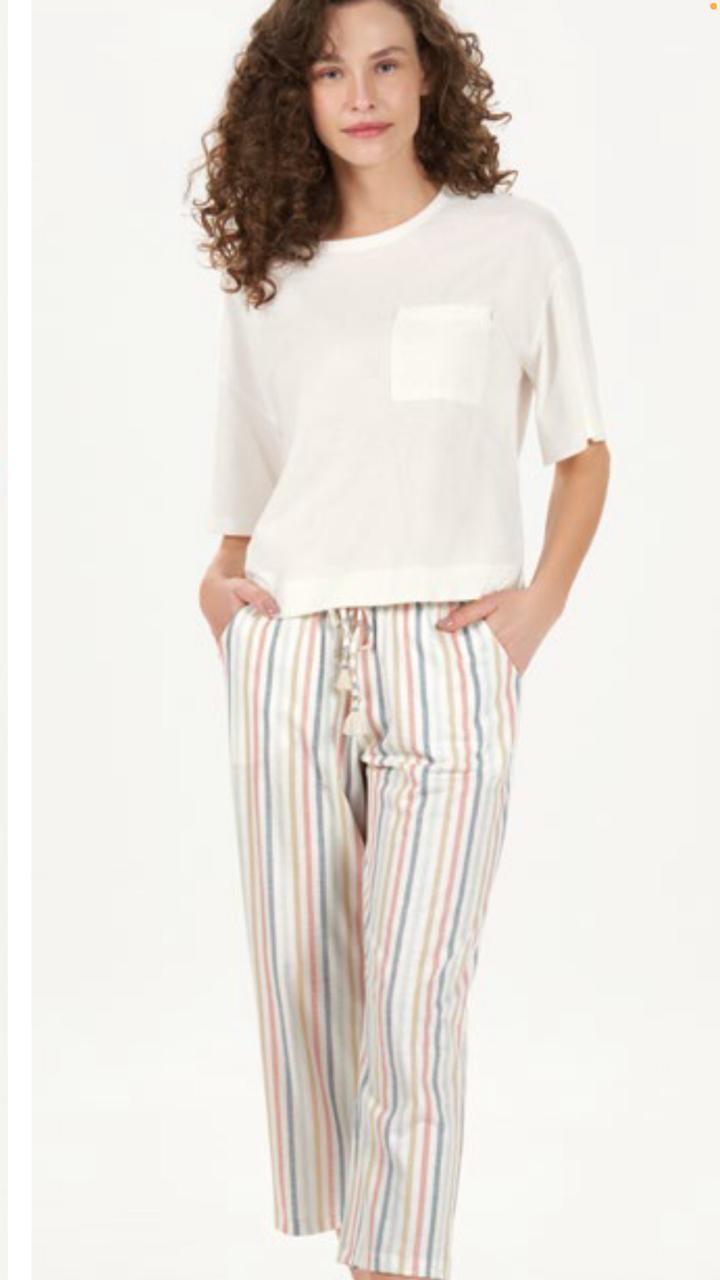 pijama manga curta com calca