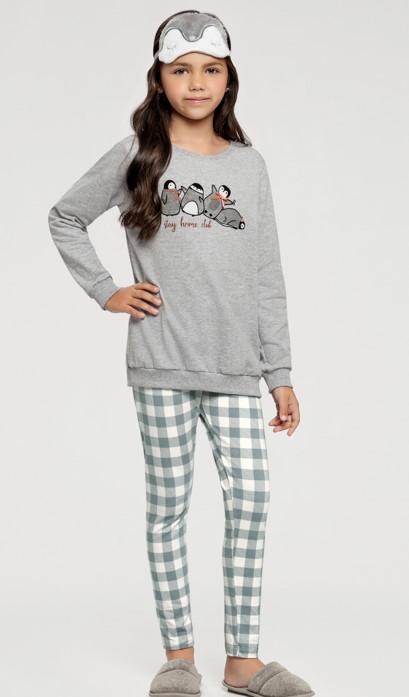 pijama manga longa com legging inf rot xadrez