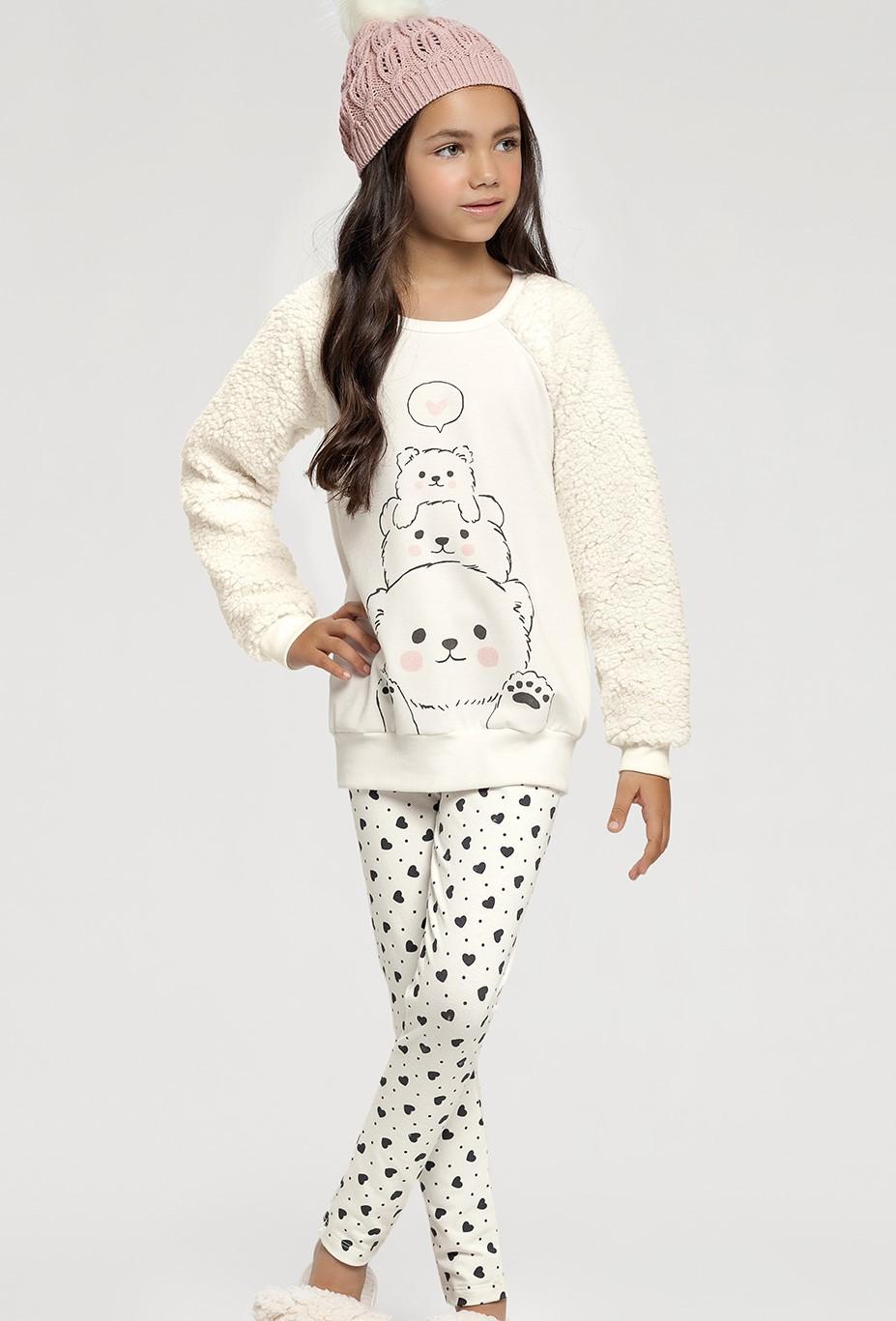 pijama manga longa com legging rot coracoes