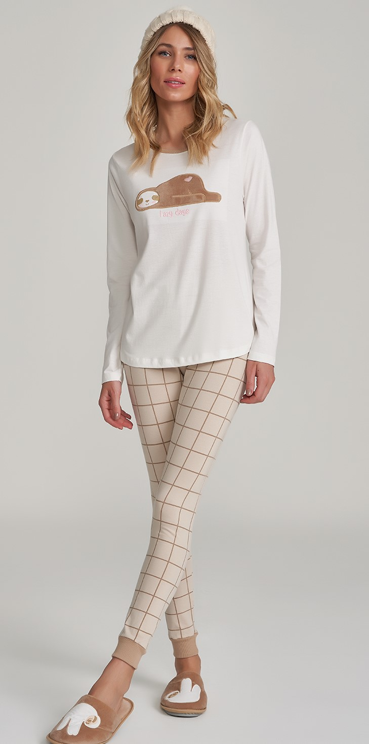 pijama manga longa com legging rot xadrez