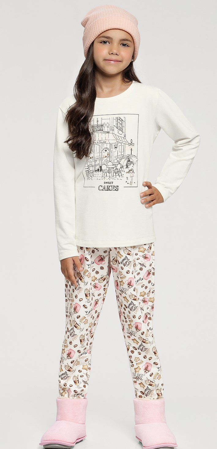 pijama manga longa infantil rot cafe e biscoito