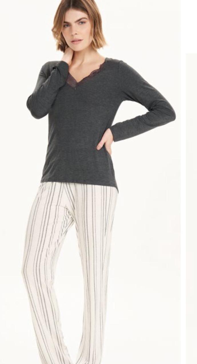 pijama manga longa rendado