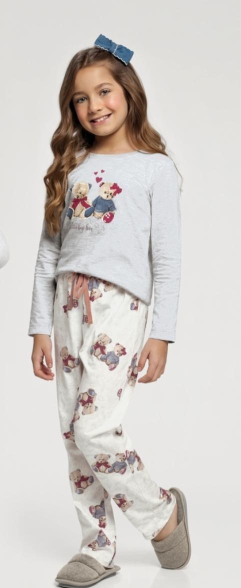 pijama manga longa rot ursos