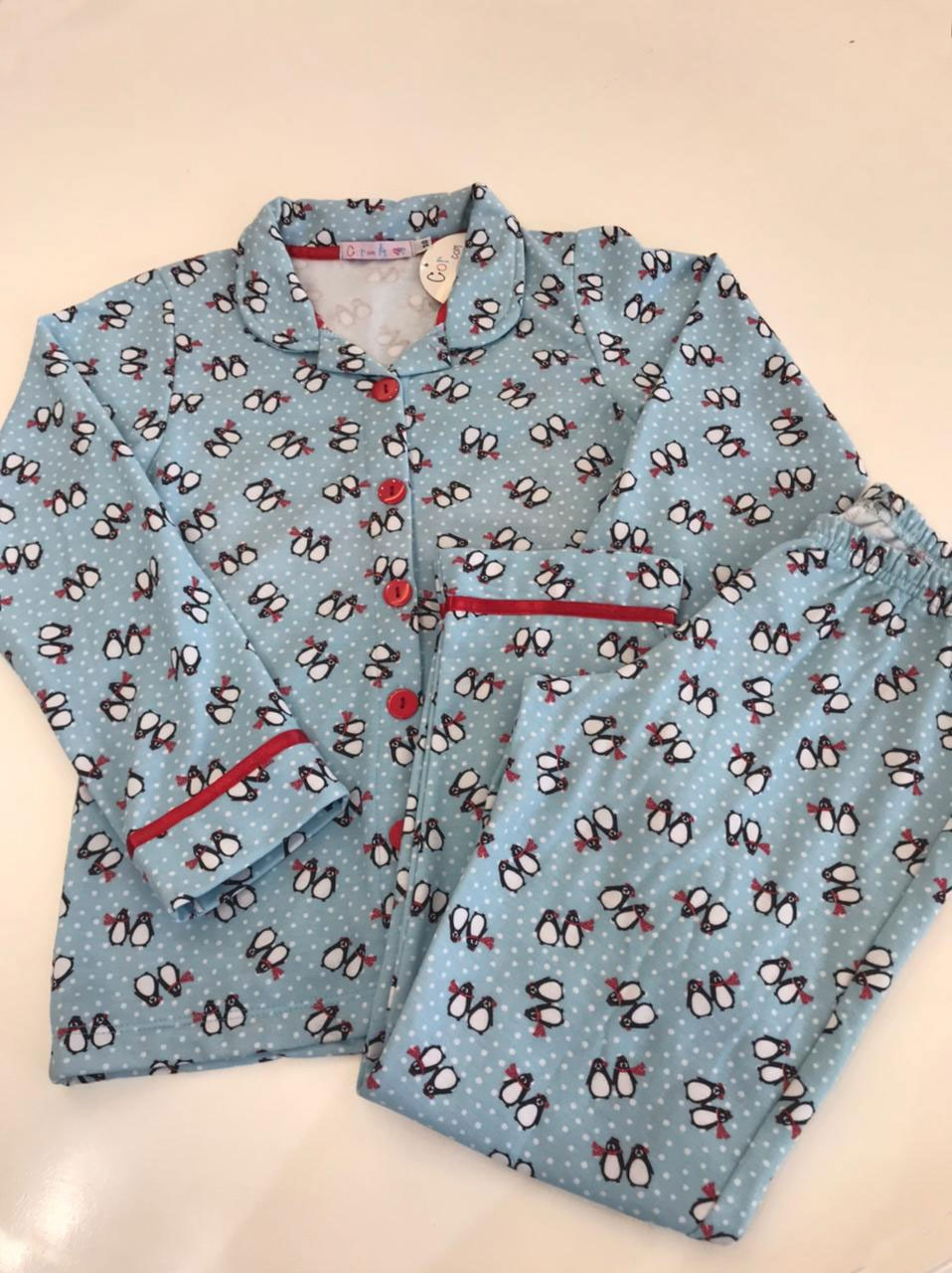 pijama manga longa c/ abertura frontal tamanho 10