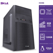 COMPUTADOR HOME H100 - CELERON DUAL CORE J1800 2.41GHZ MEM 8GB DDR3 SODIMM SSD 120GB HDMI/VGA FONTE 200W