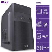 COMPUTADOR HOME H100 - CELERON DUAL CORE J4005 2.00GHZ 4GB DDR4 SSD 120GB 4XUSB 3.0 2X USB FONTE 200W