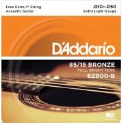 ENCORDOAMENTO DE AÇO PARA VIOLÃO EZ900-B 6 CORDAS EXTRA LIGHT .010-.050 - CORDA MI EXTRA