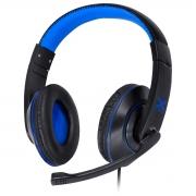 FONE HEADSET GAMER VX GAMING V BLADE II USB COM MICROFONE RETRÁTIL E AJUSTE DE HASTE PRETO COM AZUL - GH202