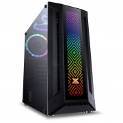 GABINETE GAMER EATX VX GAMING SAGITARIUS COM VIDRO TEMPERADO PRETO FRONTAL COM 3 FANS E FITA LED RGB