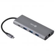 HUB USB TIPO C TYPE C 9 EM 1 - 3 USB 3.0 + CARTÃO SD E TF + HDMI + ÁUDIO P2 + RJ45 + POWER DELIVERY (PD) 60W - HC-9