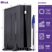 MINI COMPUTADOR BUSINESS B100 - CELERON DUAL CORE J1800 2.41GHZ 4GB DDR3 SODIMM SEM HD HDMI/VGA FONTE EXTERNA 60W