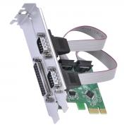 PLACA SERIAL 2 SAÍDAS RS232 RS485 RS422 + 1 SAÍDA PARALELA IEEE1284 PCI EXPRESS PCI-E X1 COM LOW PROFILE - P2IE1PR-LP