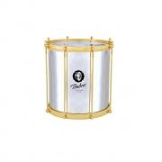 Repinique 12 Pol X30cm Aluminio Polido C/aro Dourado Pele Leitosa Timbra
