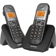 TELEFONE SEM FIO + RAMAL ID COM ENTRADA PARA FONE DE OUVIDO TS 5122 PRETO