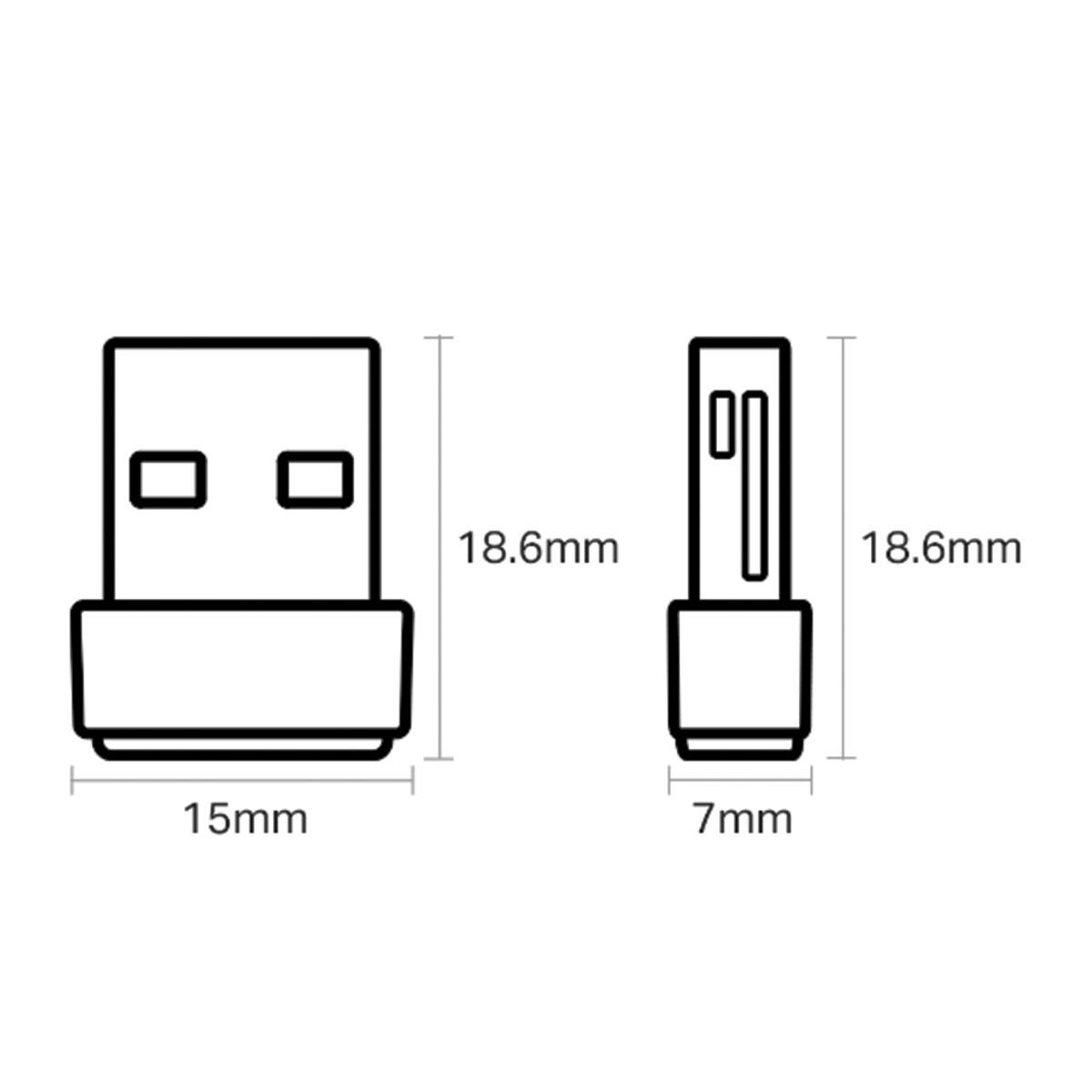 ADAPTADOR USB WIRELESS AC600 ARCHER DUAL BAND 2.4GHZ E 5GHZ T2U NANO