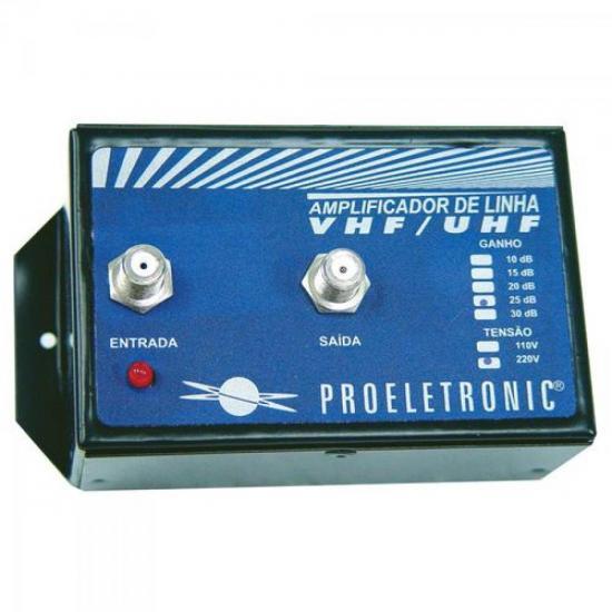 Amplificador de Linha VHF/UHF 30dB Bivolt PROELETRONIC