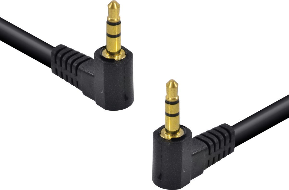 CABO DE ÁUDIO P2 X P2 (3.5 STEREO) 1.5 METROS 2 CONECTORES DE 90 GRAUS - 35SA90-15 - PC / 10