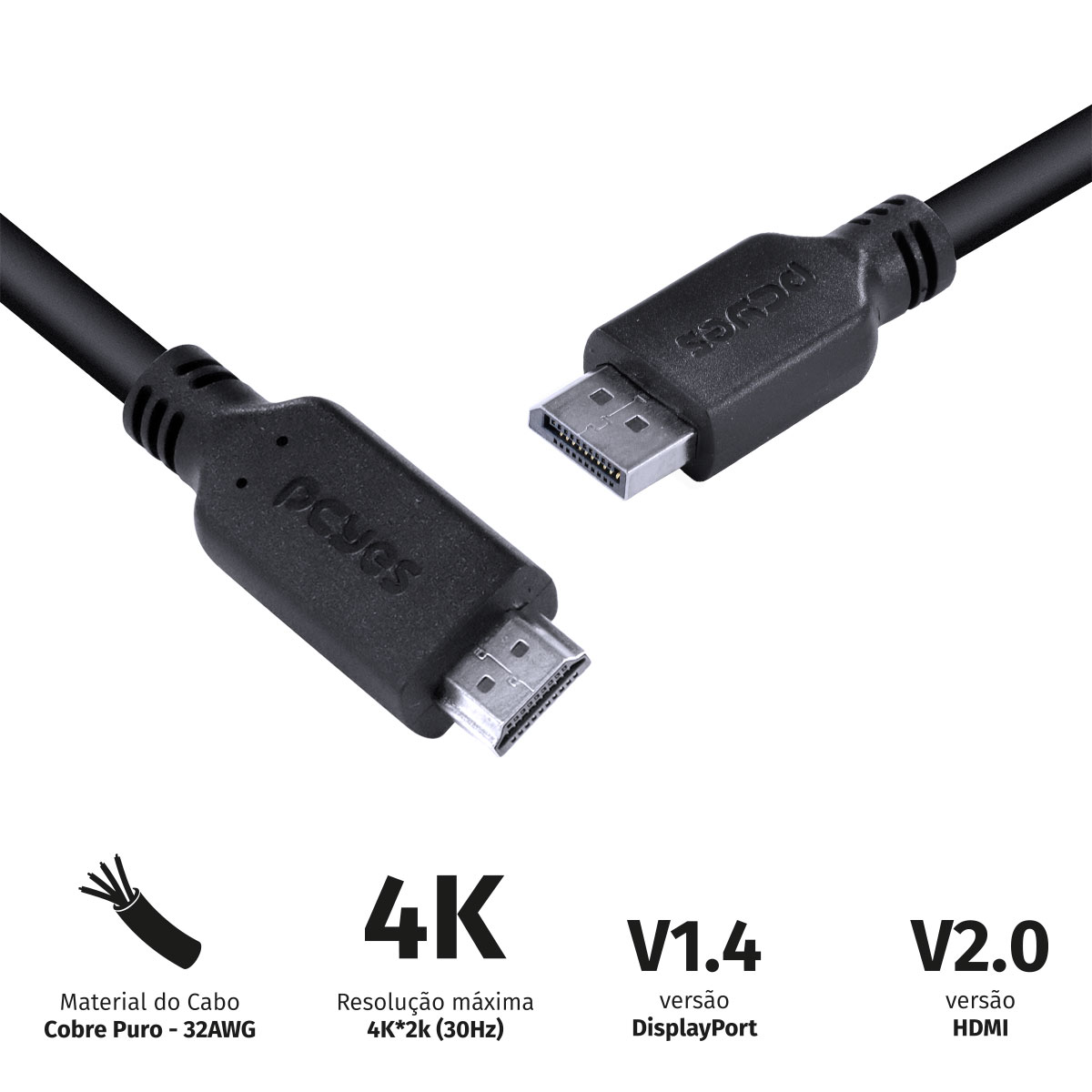 CABO DISPLAYPORT MACHO PARA HDMI 2.0 MACHO 2 METROS - PDPHM-2