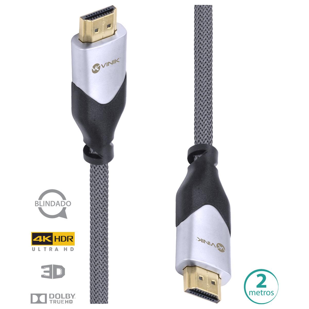 CABO HDMI 2.0 4K ULTRA HD 3D CONEXÃO ETHERNET BLINDADO EM NYLON 2 METROS - H20B-2