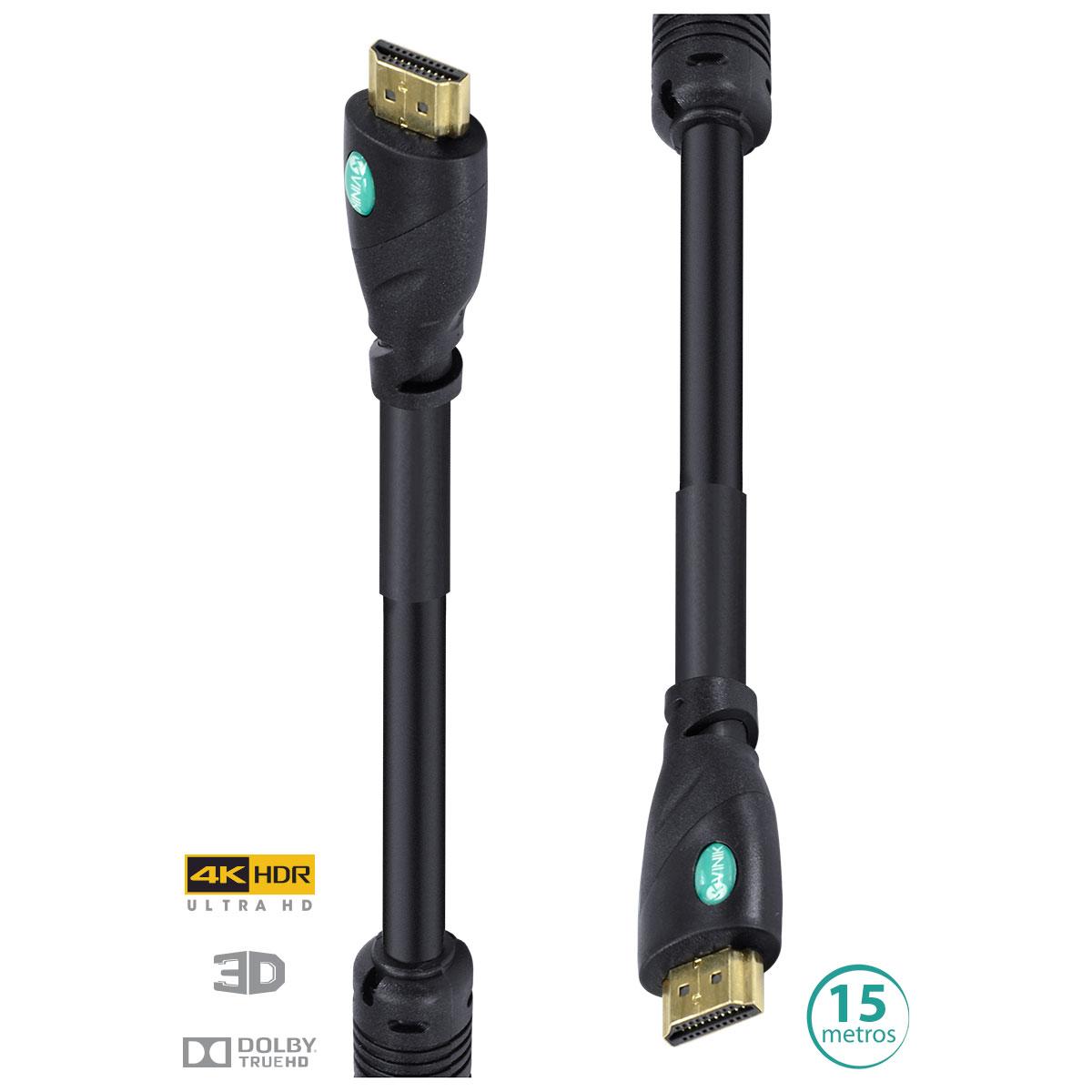 CABO HDMI 2.0 4K ULTRA HD 3D CONEXÃO ETHERNET COM FILTRO 15 METROS - H20F-15