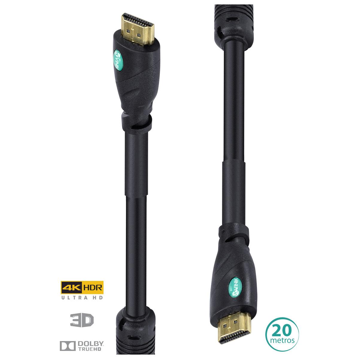 CABO HDMI 2.0 4K ULTRA HD 3D CONEXÃO ETHERNET COM FILTRO 20 METROS - H20F-20