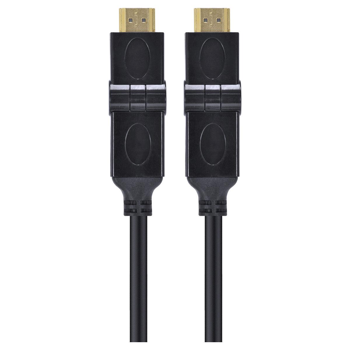 CABO HDMI 2.0 4K ULTRA HD 3D CONEXÃO ETHERNET CONECTORES 180° 2 METROS - H20B180-2