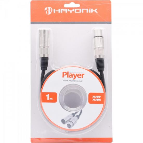 Cabo para Microfone XLR(F) X XLR(M) 1m PLAYER Preto HAYONIK