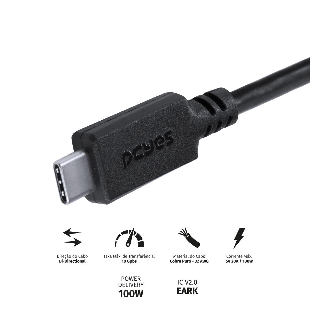 CABO USB TIPO C 3.1 PARA USB TIPO C COM POWER DELIVERY (PD) 100W PARA CELULAR SMARTPHONE 1 METRO PRETO - P31UCCP-1