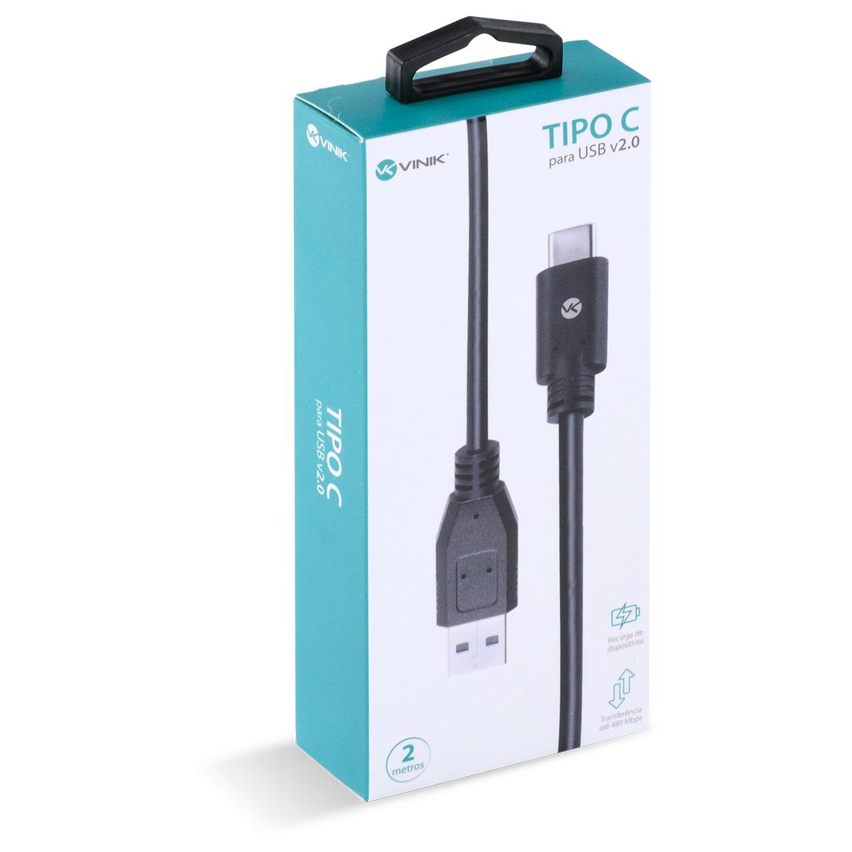 CABO USB TIPO C X USB A MACHO 2.0 2 METROS - C20UAM-2