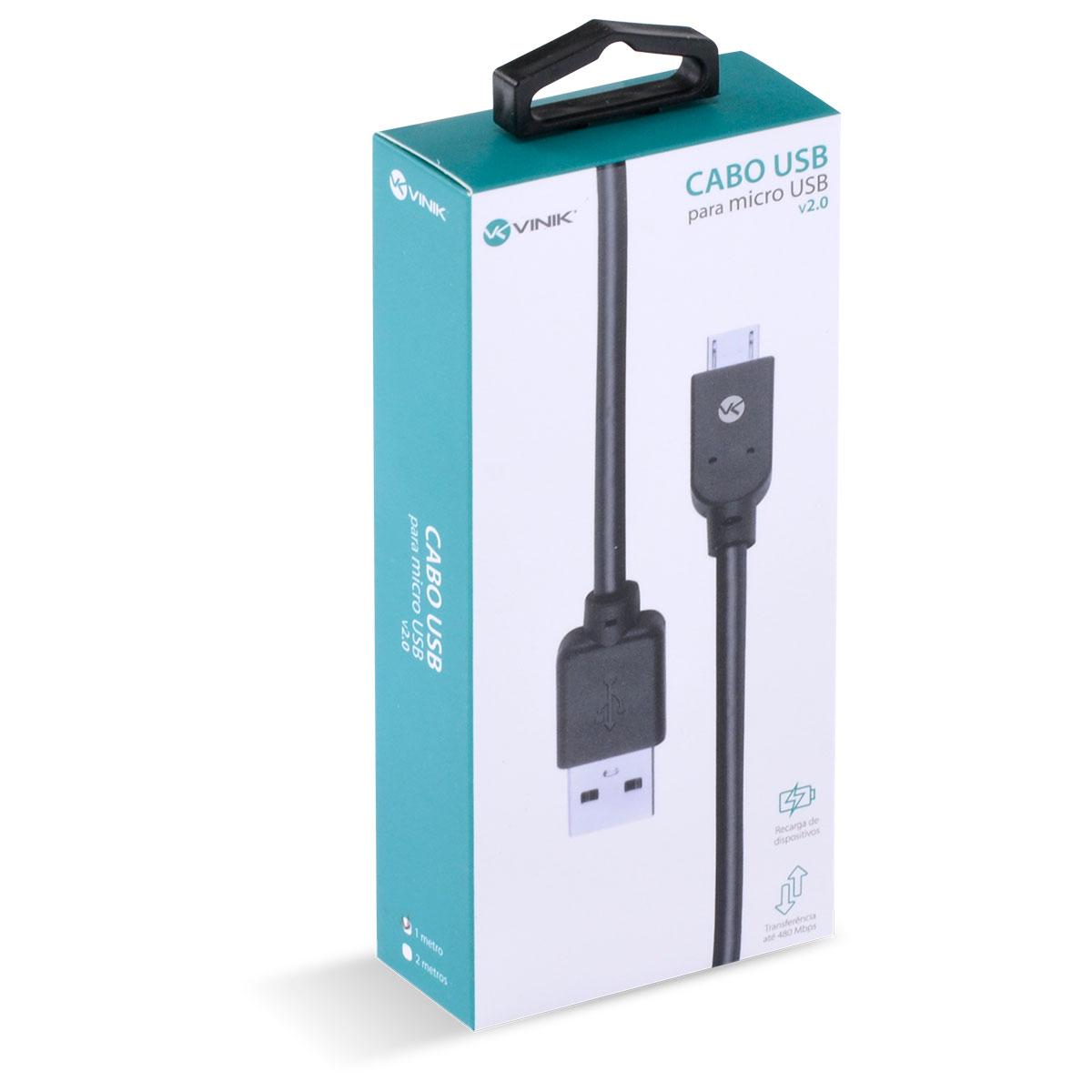 CABO USB X MICRO USB B 2.0 5 PINOS 1 METRO PRETO - MUSB-1