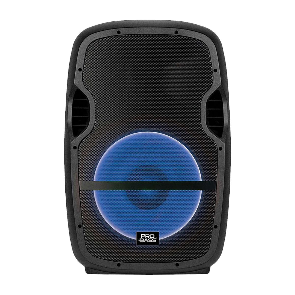 """CAIXA AMPLIFICADA ELEVATE LP USB/SD/BT 15"""""""" 200W, ACOMPANHA SUPORTE, MICROFONE COM FIO, CONTROLE REMOTO, LED"""