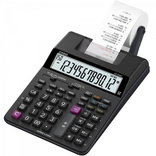 Calculadora com Bobina 12 Dígitos Bivolt HR-100RC Preta CASIO