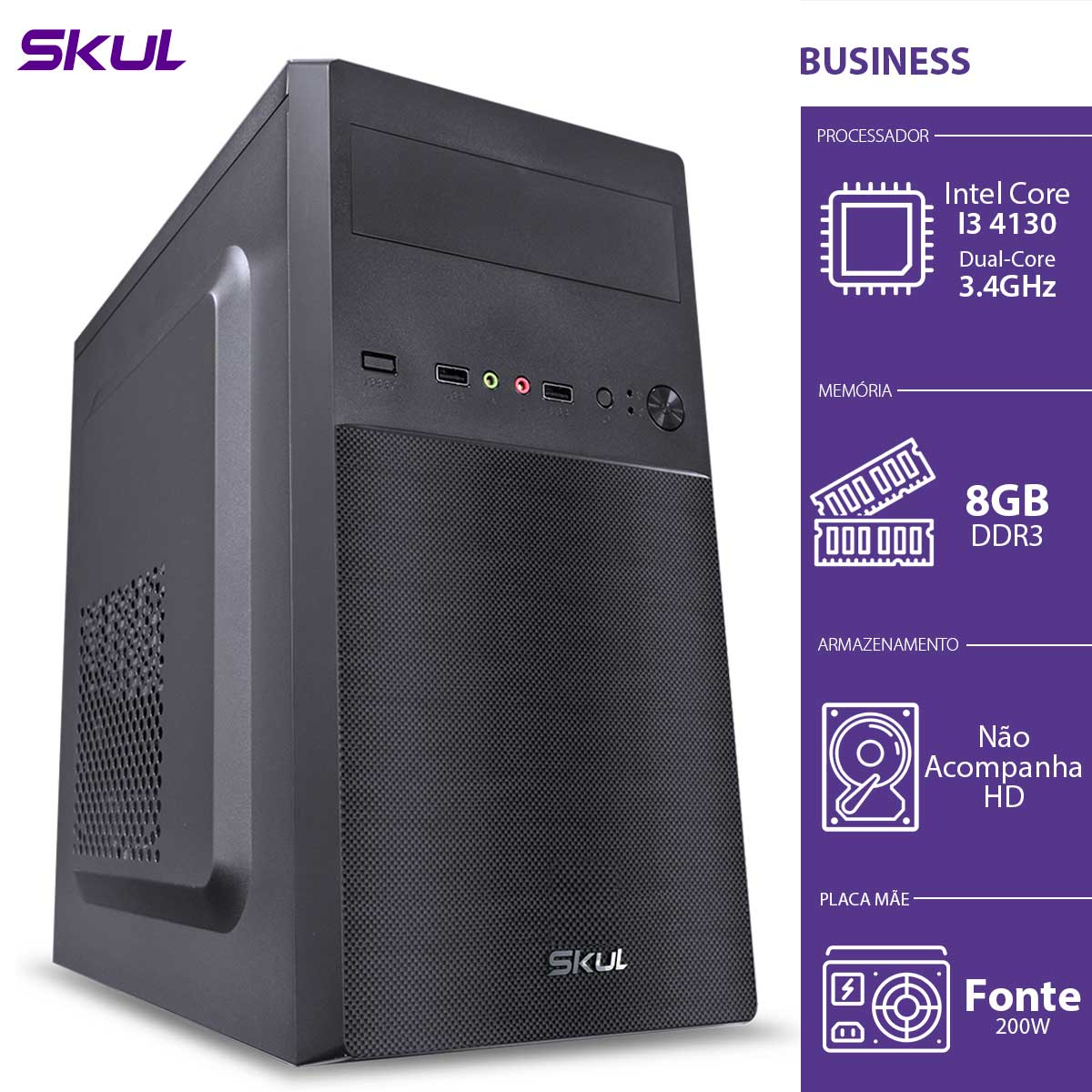 COMPUTADOR BUSINESS B300 - I3 4130 3.4GHZ 8GB DDR3 SEM HD HDMI/VGA FONTE 200W