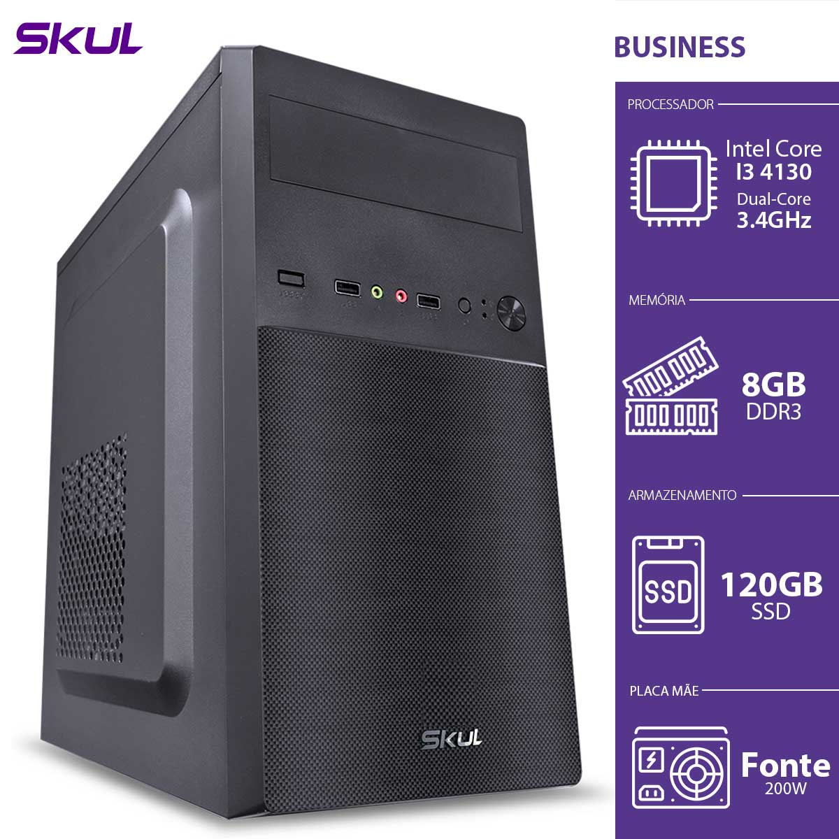 COMPUTADOR BUSINESS B300 - I3 4130 3.4GHZ 8GB DDR3 SSD 120GB HDMI/VGA FONTE 200W