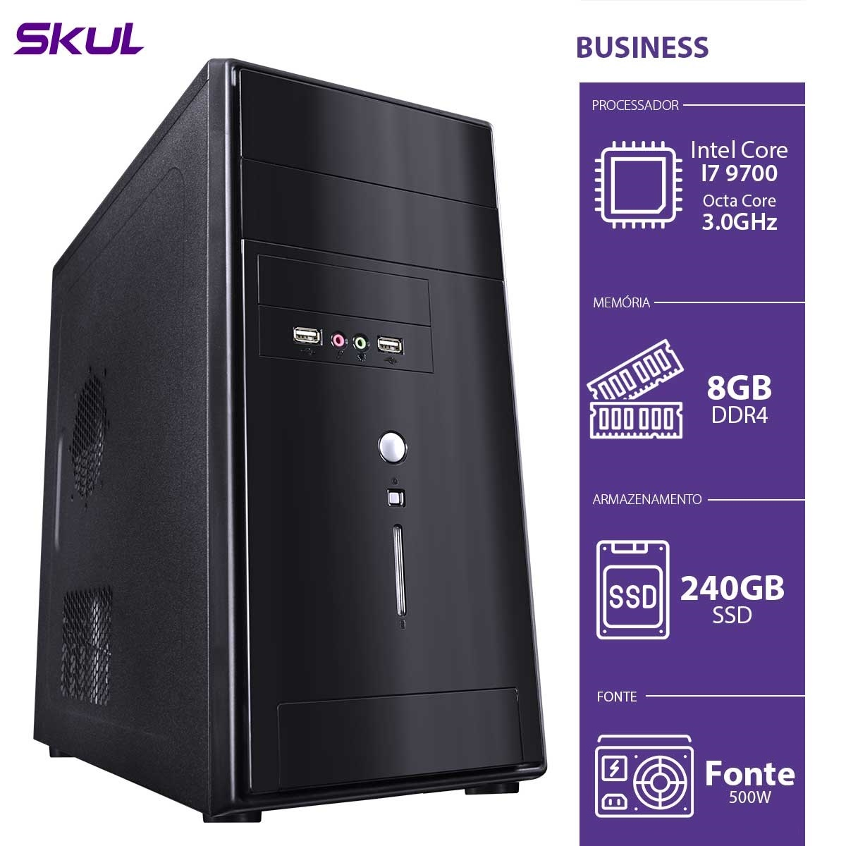 COMPUTADOR BUSINESS B700 - I7 9700 3.0GHZ MEM 8GB DDR4 SSD 240GB HDMI/VGA FONTE 500W