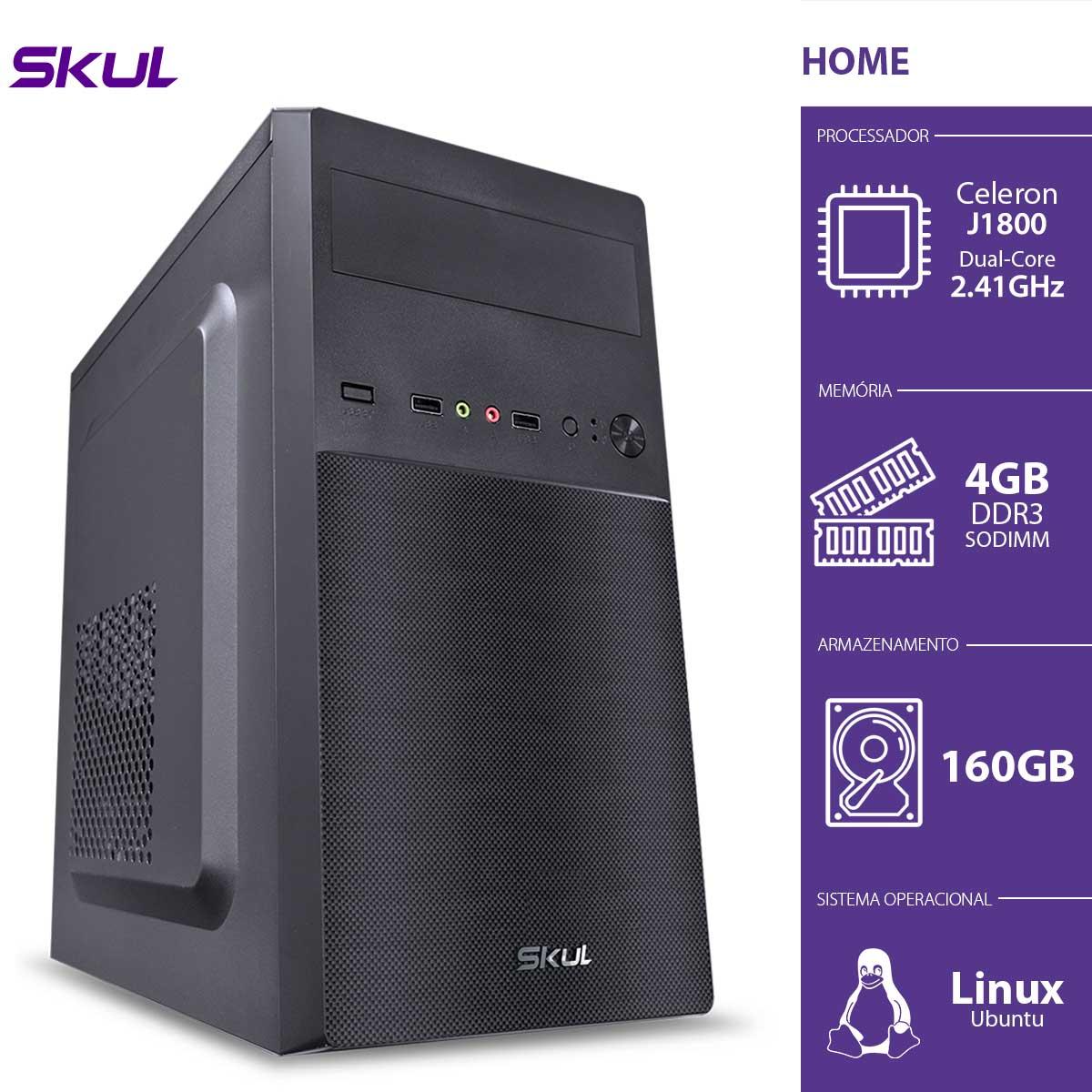COMPUTADOR HOME H100 - CELERON DUAL CORE J1800 2.41GHZ 4GB DDR3 SODIMM HD 160GB HDMI/VGA FONTE 200W