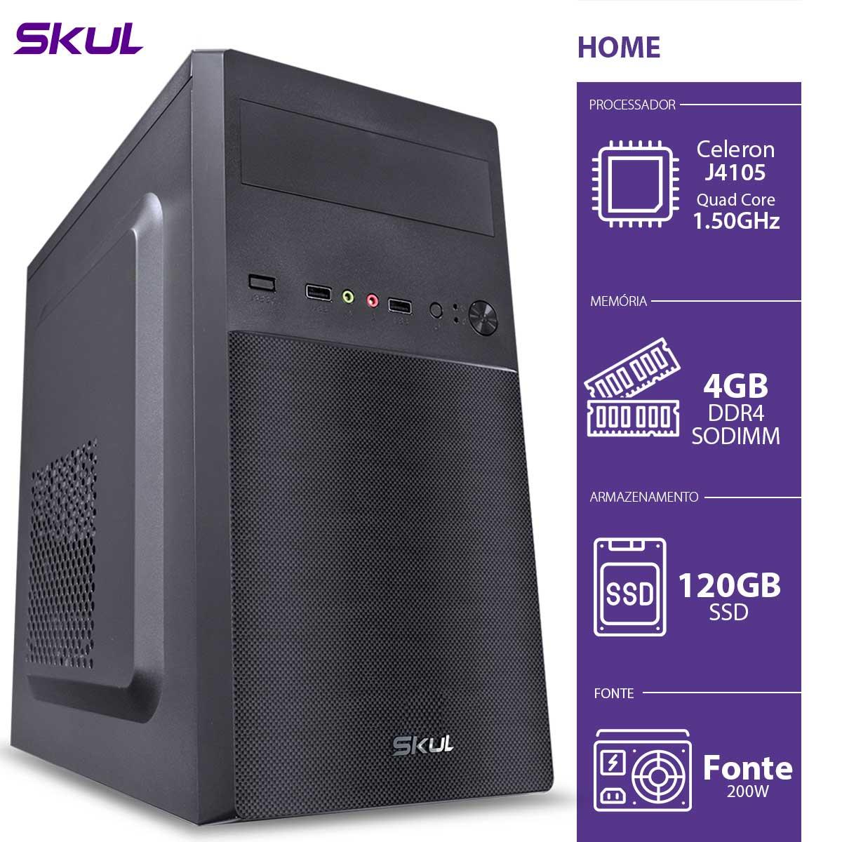 COMPUTADOR HOME H100 - CELERON QUAD CORE J4105 1.50GHZ MEM 4GB DDR4 SODIMM SSD 120GB HDMI/VGA FONTE 200W