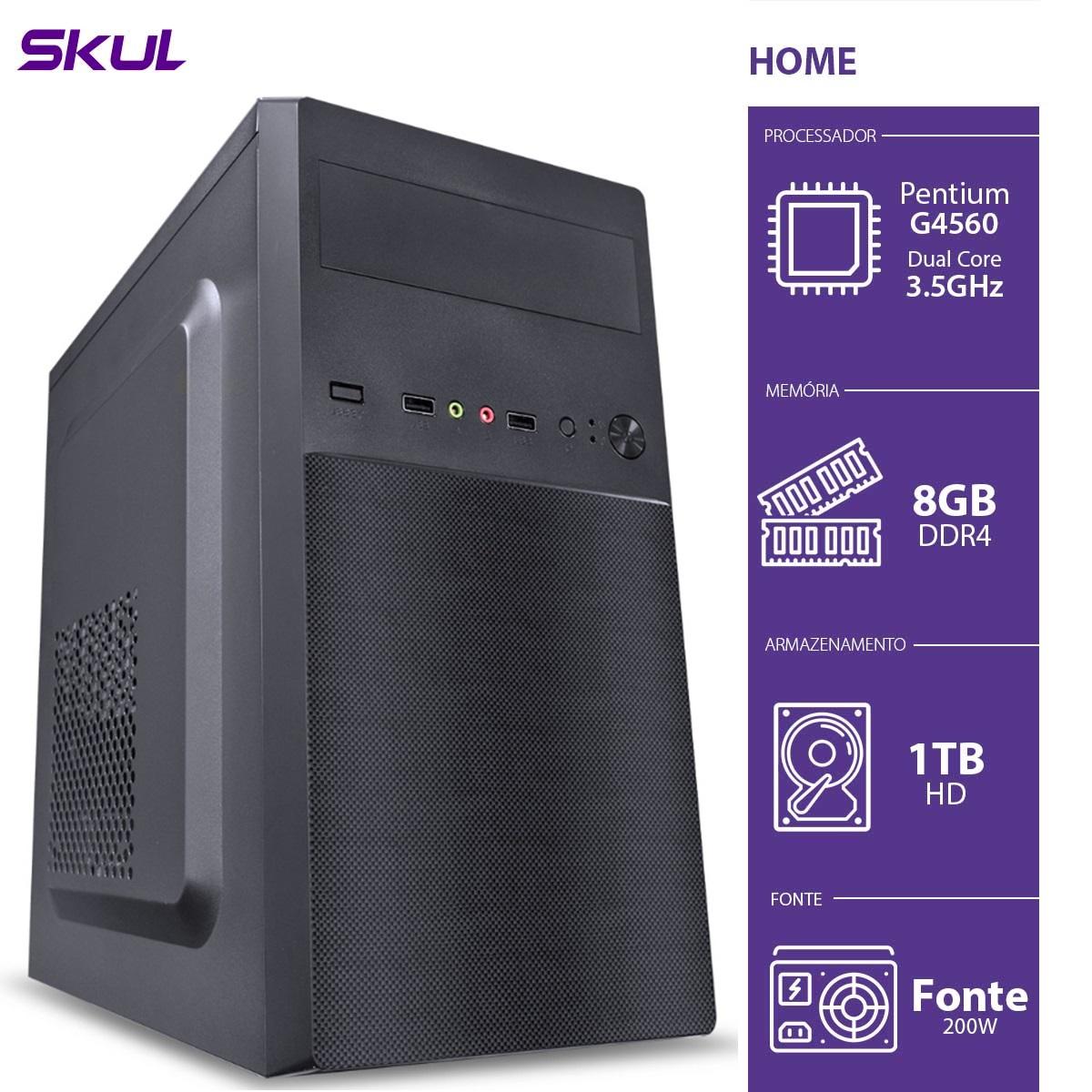 COMPUTADOR HOME H200 - PENTIUM DUAL CORE G4560 3.5GHZ 8GB DDR4 HD 1TB HDMI/VGA FONTE 200W