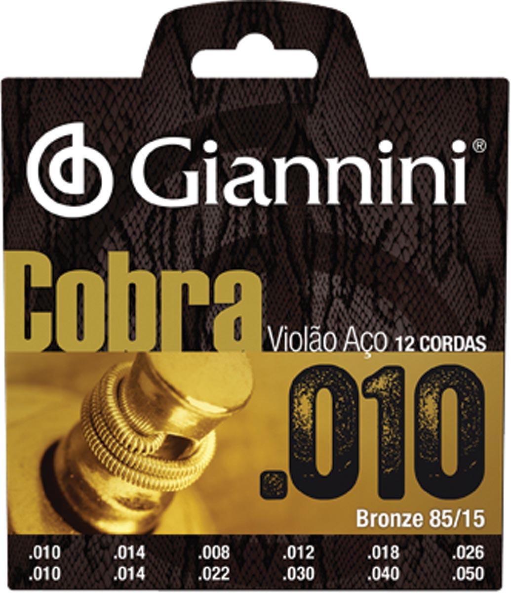 ENCORDOAMENTO PARA VIOLAO 12 CORDAS ACO COBRA BRONZE - GEEF12M